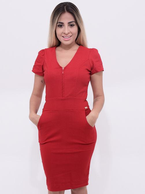vestido vermelho com zíper na frente