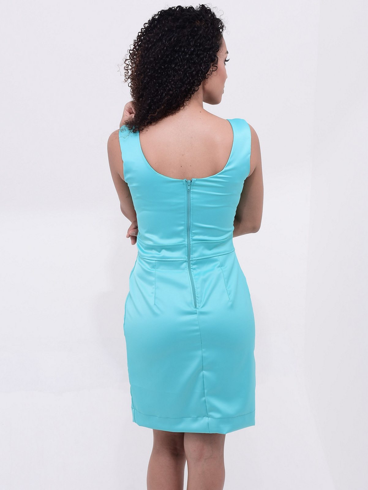 vestido azul turquesa
