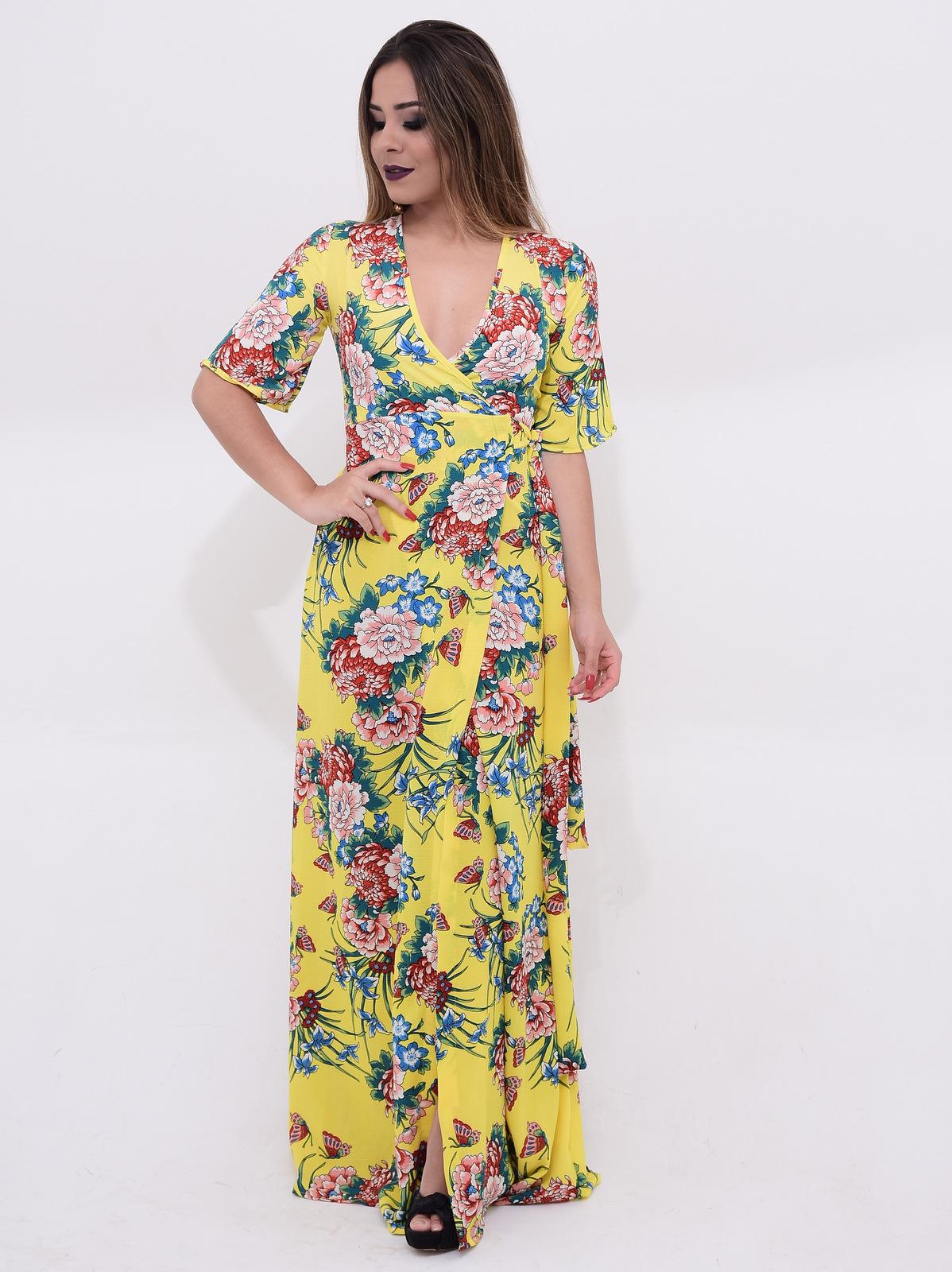 vestido longo transpassado com fenda