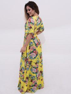 vestido longo transpassado estampado