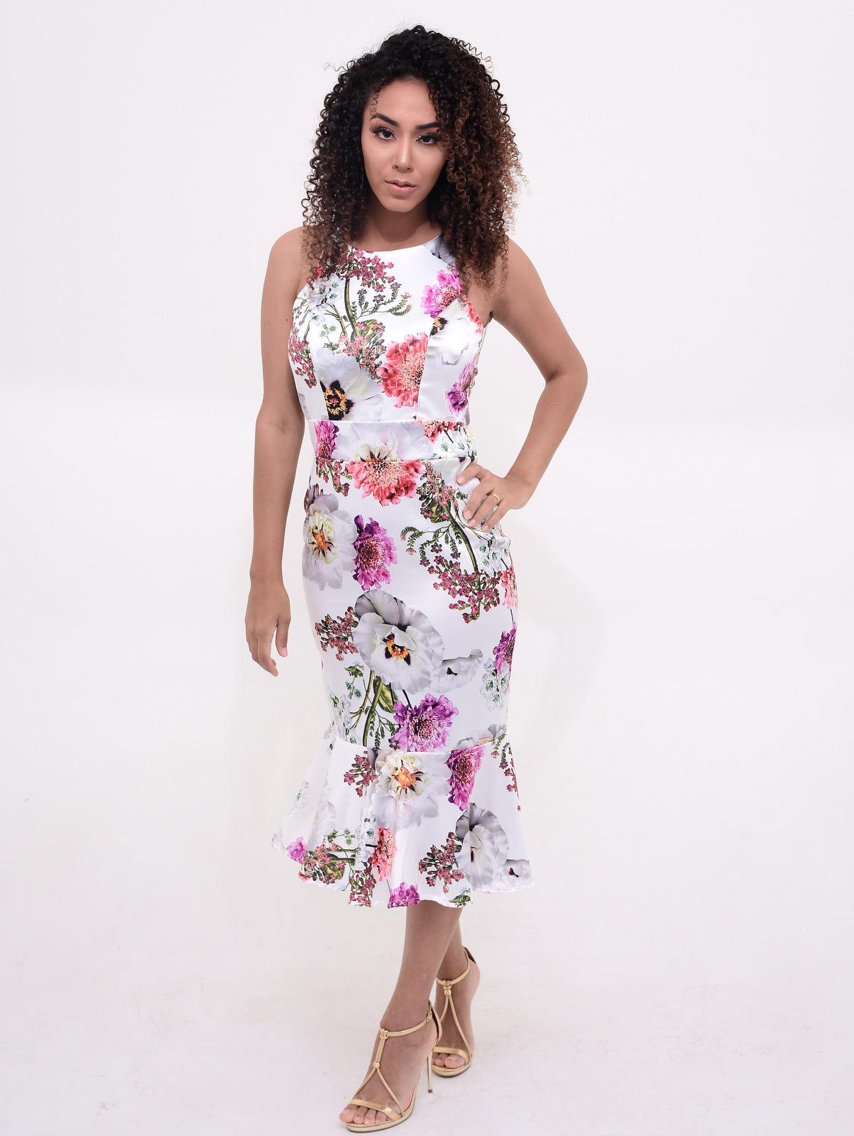 vestido floral midi primavera