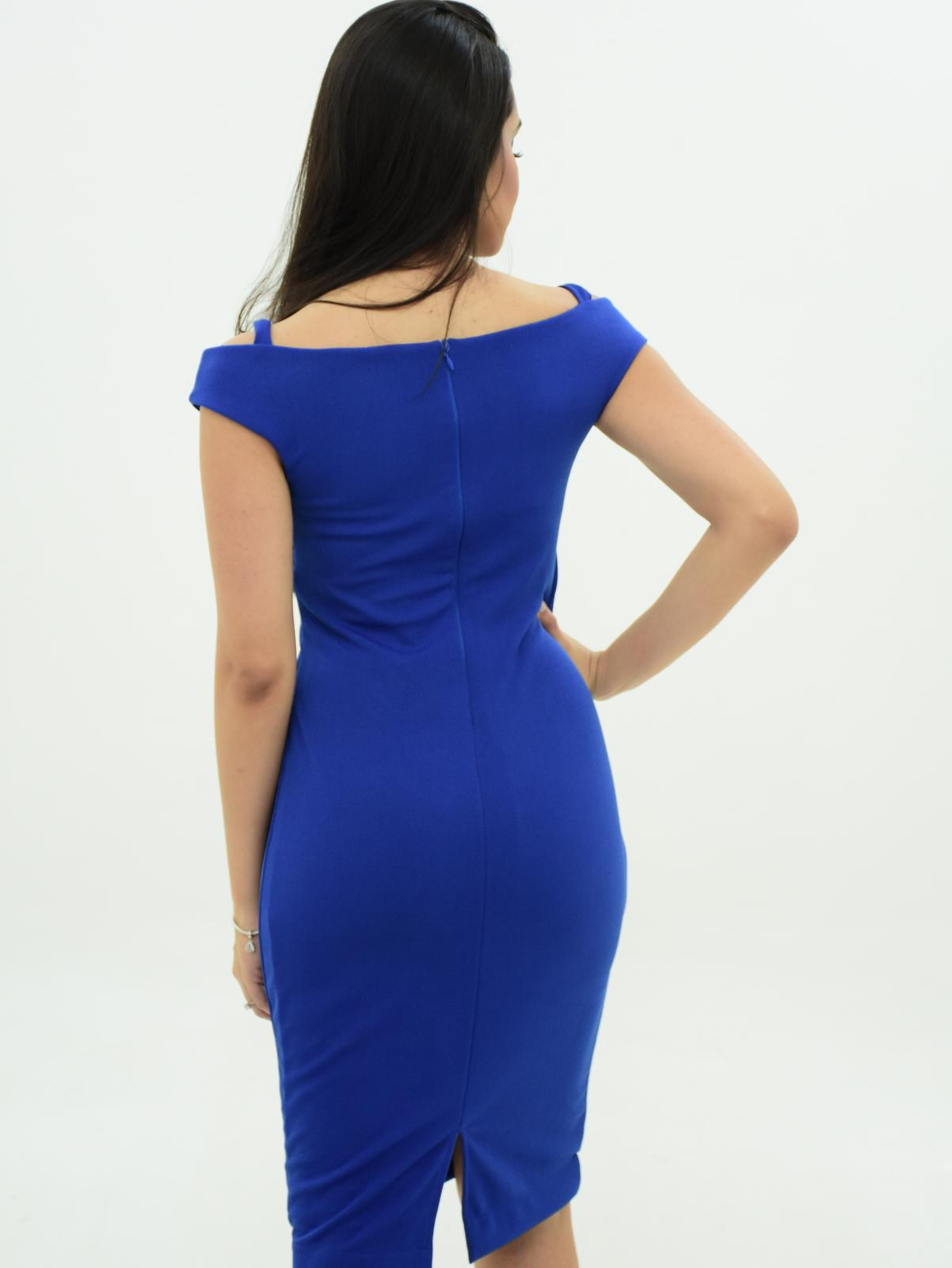 Vestido ombro a ombro azul