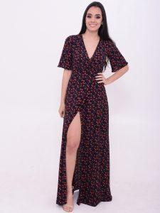 vestido longo estampado com fendas
