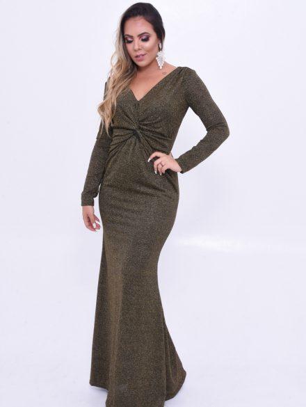 Vestido longo brilhoso e com muito glamour