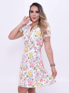 Vestido rodado com florzinhas
