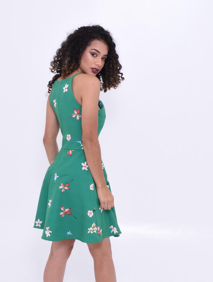 vestido verde com flores