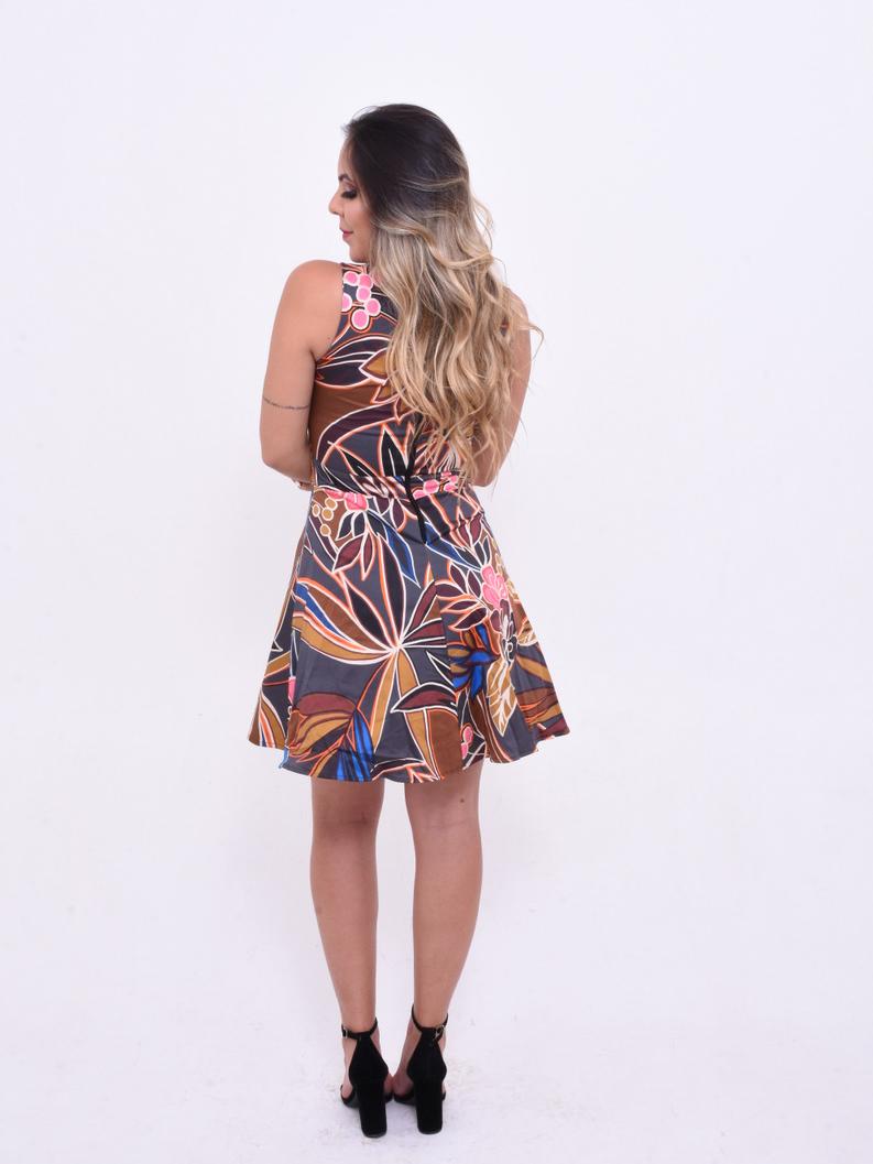 vestido rodado estampado