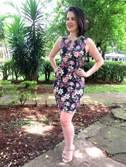 Vestido floral para o trabalho