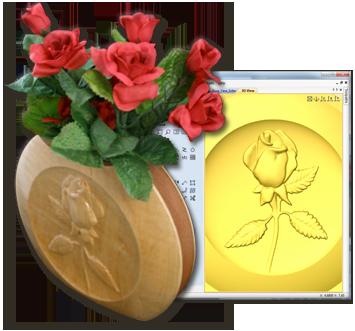Rose Carved Disc Vase