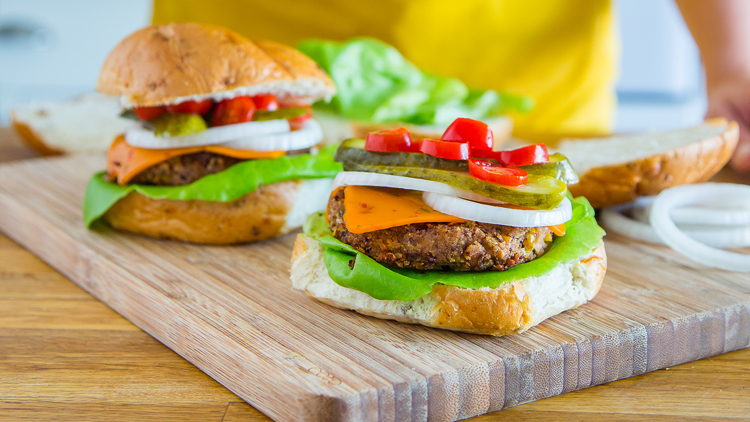 bean burgers on a cutting board