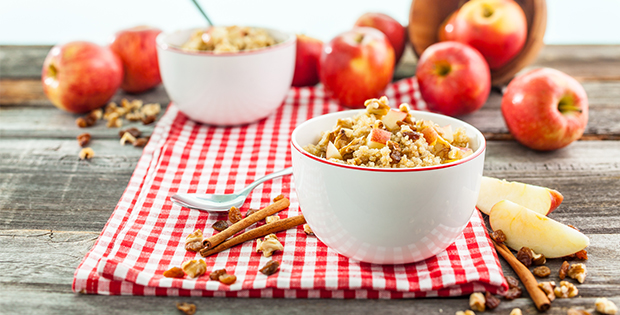 apple cinnamon cereal with quinoa on a picnic blanket
