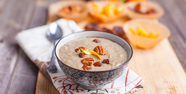 Breakfast chia pudding, vanilla chai spiced with orange zest and pecan toppings