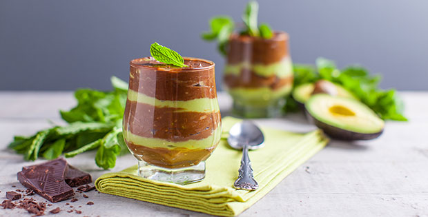 Vegan Chocolate Mint Pudding Parfaits with Avocado