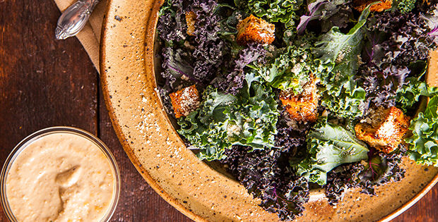 superfood kale caesar salad with cashew dressing