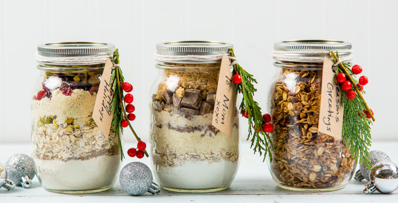 Mason Jar Gifts with Peanut Butter Banana Bread Ingredients inside
