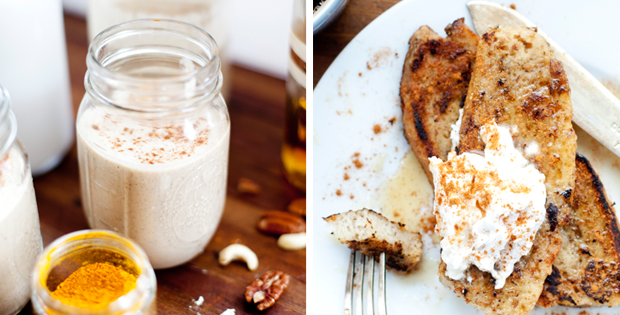 Vegan Egg Nog Smoothie & French Toast