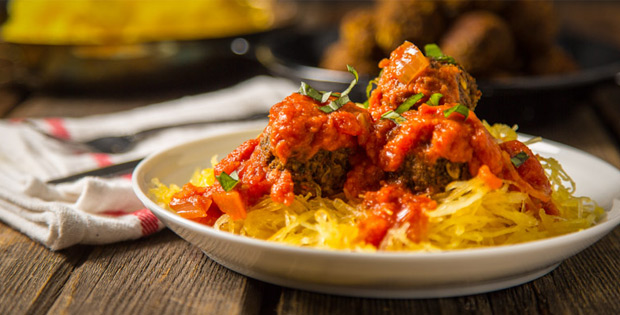 vegan Spaghetti Squash and Meatballs