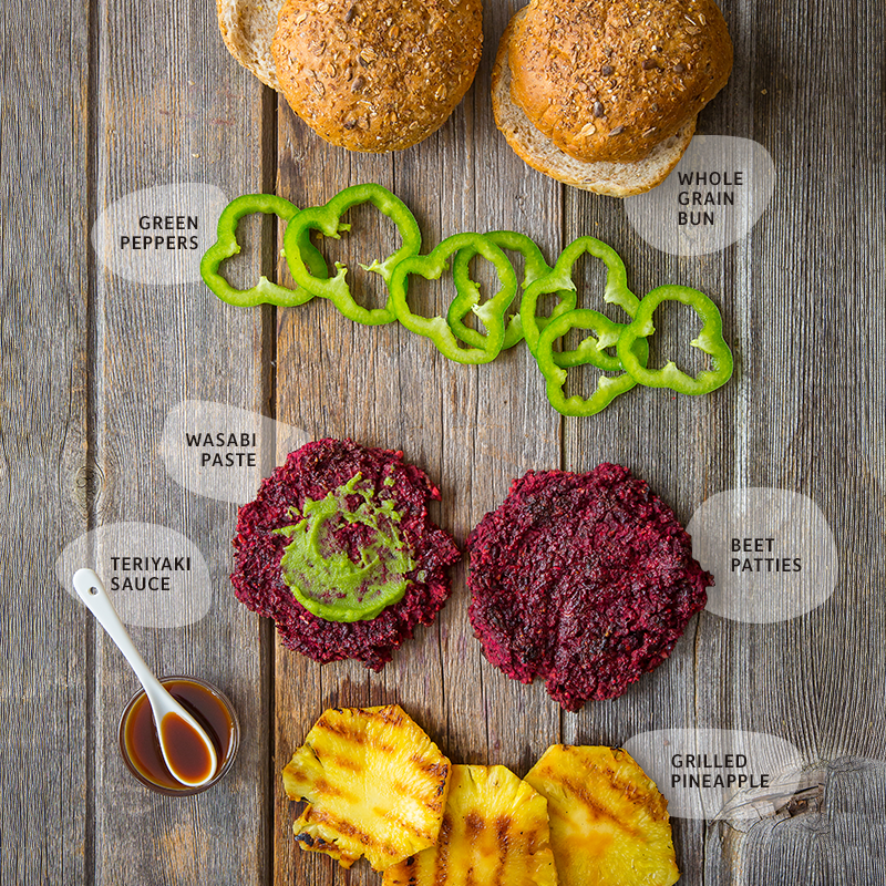 Hawaiian veggie burger ingredients