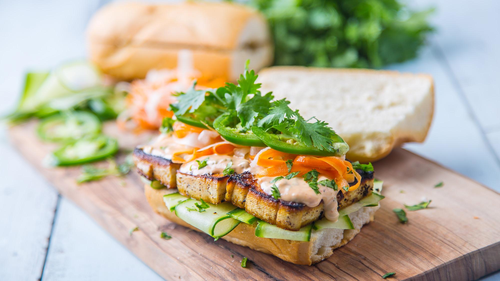 vegan tofu meal prep banh mi sandwich