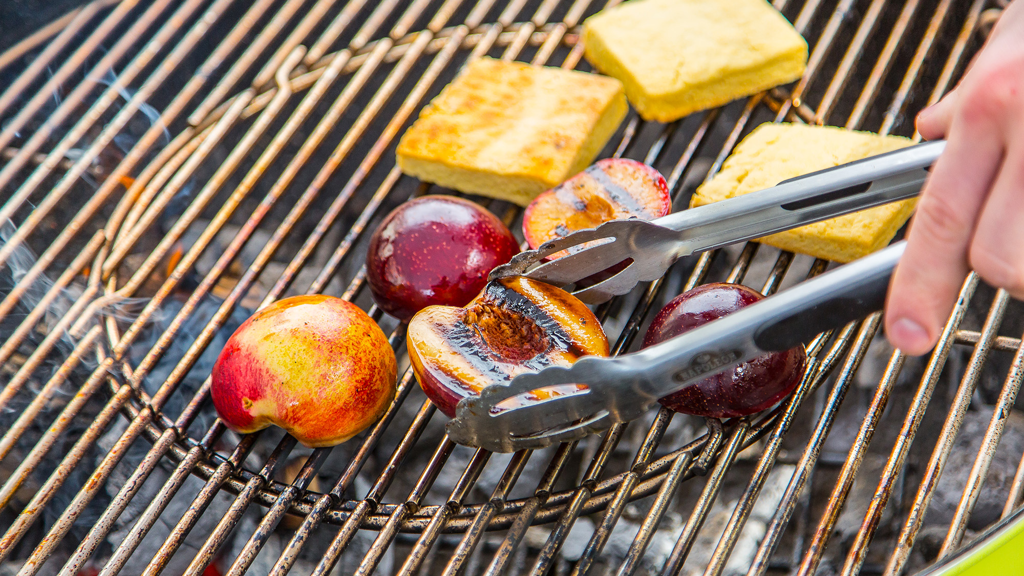 stone fruit shortbread being barbecued