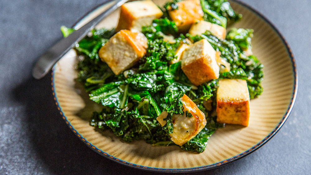 Baked Tofu with creamed kale