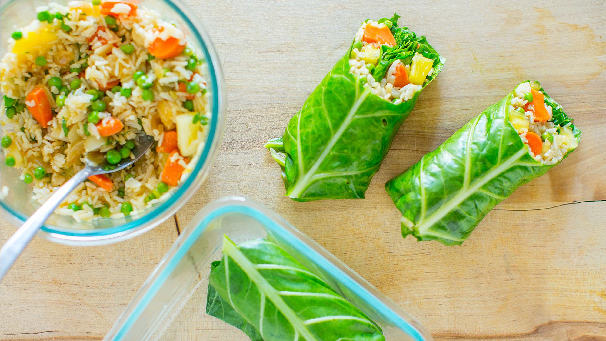 fried rice collard green wrap