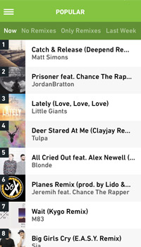 screenshot of the popular page on the hype machine app