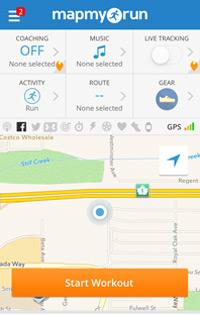 screenshot of the mapmyrun app homepage
