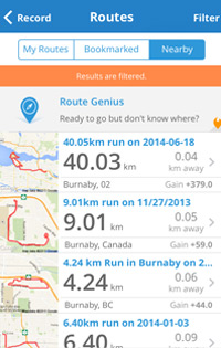 screenshot of the mapmyrun app routes page