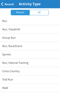 screenshot of the mapmyrun app activity selection page