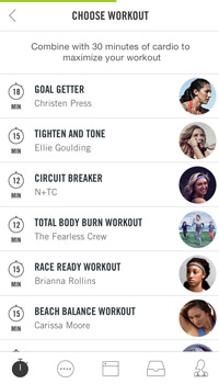 screenshot of the nike training club app workout selection page
