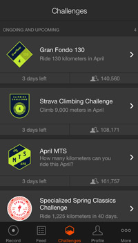 strava app screenshot of the challenges page