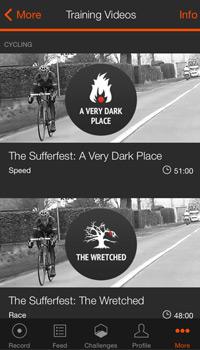 strava app screenshot of the training videos page