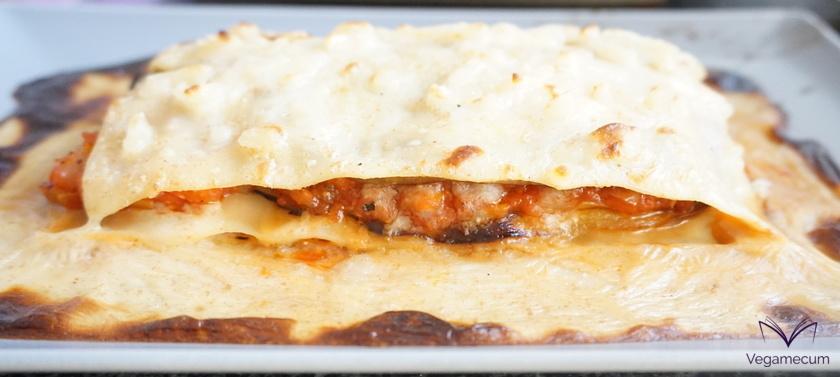 Eggplant, leek and tomato lasagna
