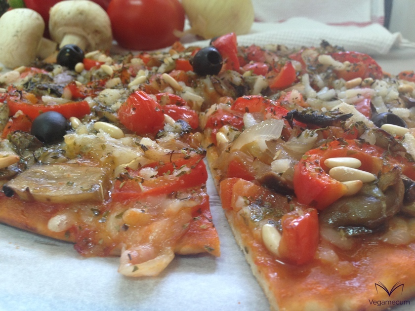 Red pepper, mushroom, onion and pine nut pizza