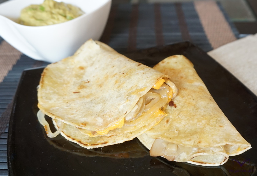 Vegan Mushroom and Onion Quesadillas