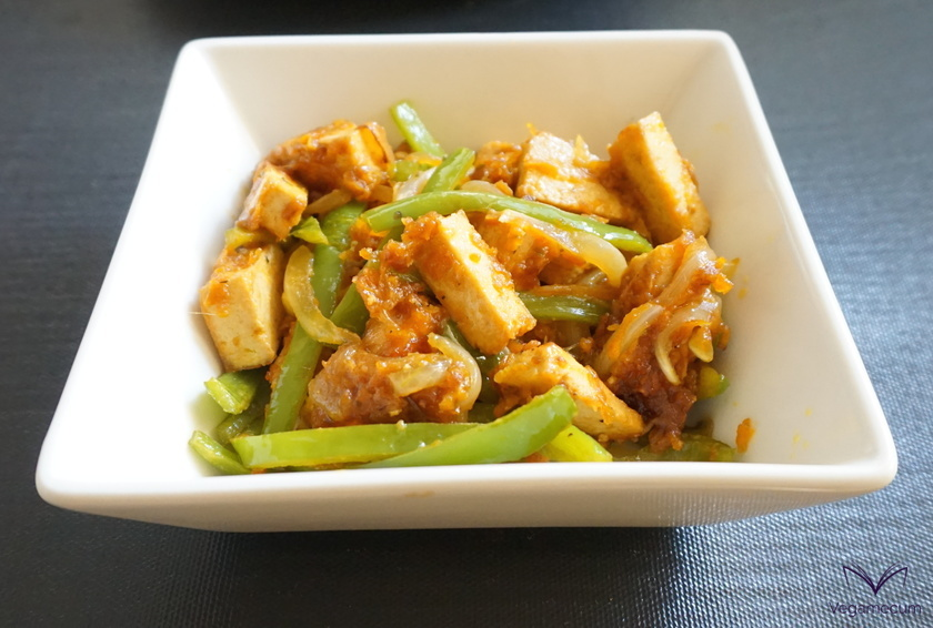 Sautéed vegetables and tofu with sweet and sour sauce