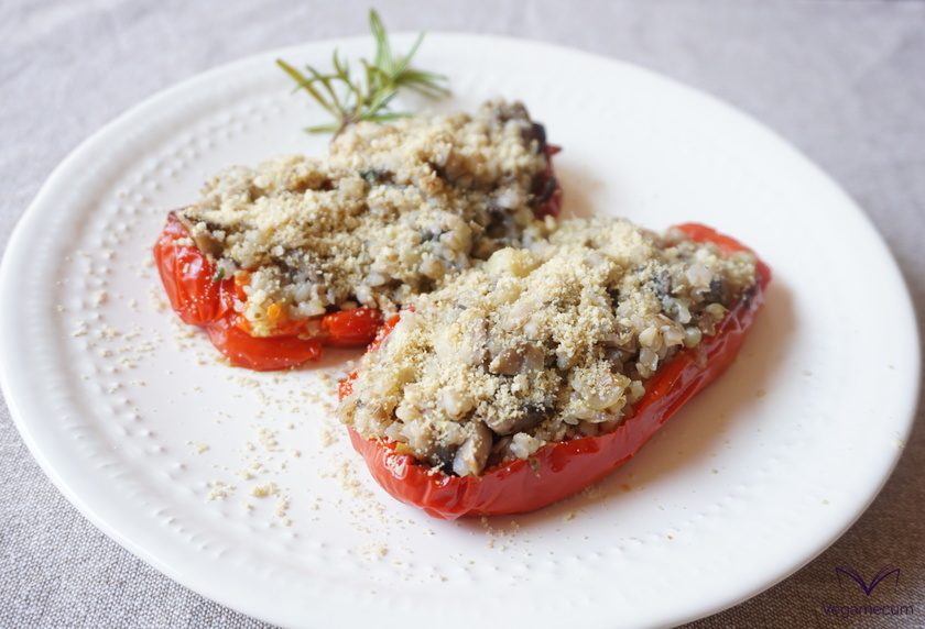 Peppers stuffed with buckwheat and Portobello mushrooms