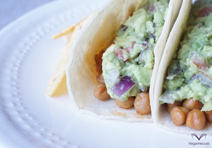 Detail of spicy chickpea and guacamole tacos
