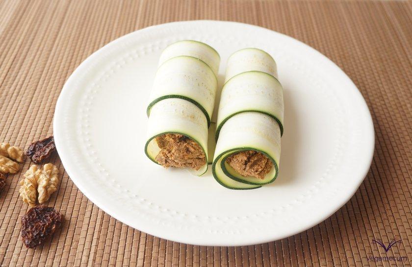 Freshly assembled raw vegan cannelloni