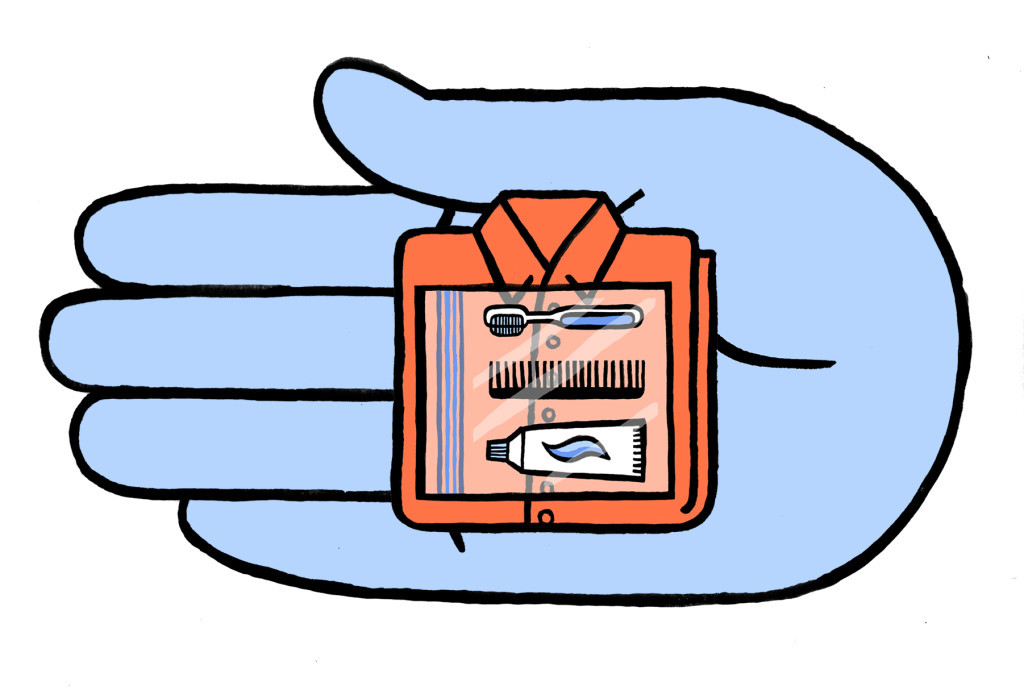 Illustration of hand with belongings in the palm