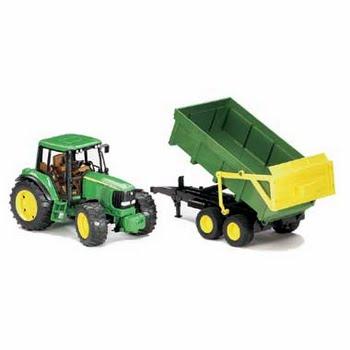 02058 Bruder John Deere Tractor + Kiepwagen