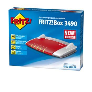 AVM FRITZ!Box 3490 International Dual-band (2.4 GHz / 5 GHz) Gigabit Ethernet Rood, Wit