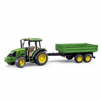 Bruder John Deere 5115M tractor met aanhanger