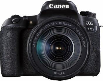 Canon EOS 77D + EF-S 18-135mm 3.5-5.6 IS USM SLR camerakit 24.2MP CMOS 6000 x 4000Pixels Zwart