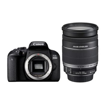 Canon EOS 800D + EF-S 18-200mm F3.5-5.6 IS SLR camerakit 24.2MP CMOS 6000 x 4000Pixels Zwart