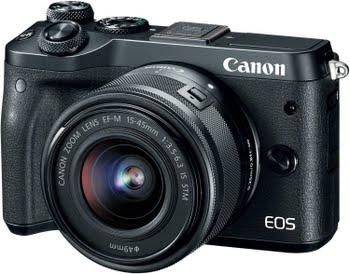Canon EOS M6 + EF-M 15-45mm 3.5-6.3 IS STM 24.2MP CMOS 6000 x 4000Pixels Zwart