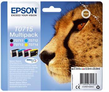 Epson T0715 5.5ml 7.4ml Zwart, Cyaan, Magenta, Geel inktcartridge