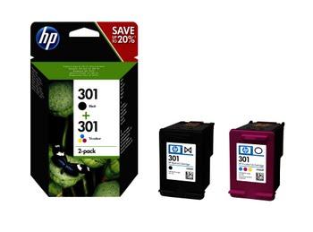 HP 301 originele zwarte/drie-kleuren inktcartridges, 2-pack