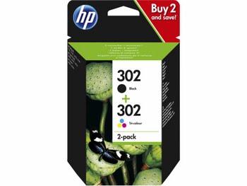 HP 302 originele zwarte/drie-kleuren inktcartridges, 2-pack